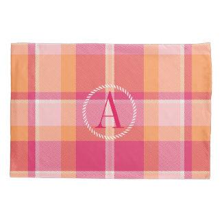 タータンチェックのオレンジおよびピンクのモノグラムID210 枕カバー