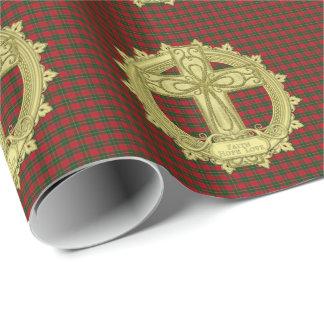 タータンチェックのケルト結び目模様の十字の信頼の希望愛クリスマス 包み紙
