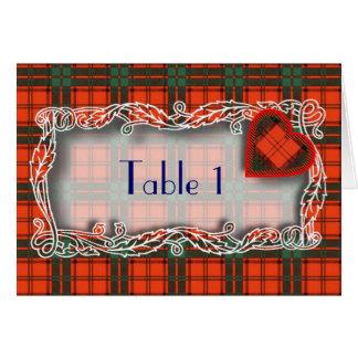 タータンチェックのテーブル数カード-マックスウェル カード