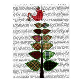 タータンチェックの木のイラストレーション ポストカード