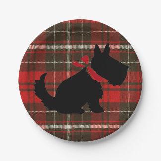 タータンチェックのScotty赤い犬のかわいい伝統的 ペーパープレート