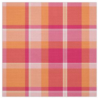 タータンチェックパターンオレンジおよびピンクID210 ファブリック