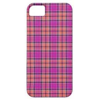 タータンチェックパターンモダンな生地の効果-ピンク iPhone SE/5/5s ケース