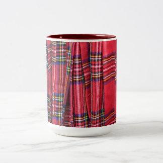タータンチェックパターン生地のマグ ツートーンマグカップ