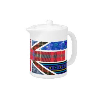 タータンチェック及び生地パターンの英国国旗のイギリスの旗
