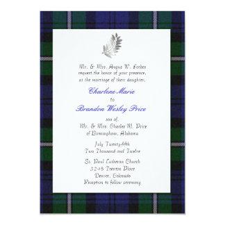 タータンチェック格子縞の結婚式招待状 12.7 X 17.8 インビテーションカード
