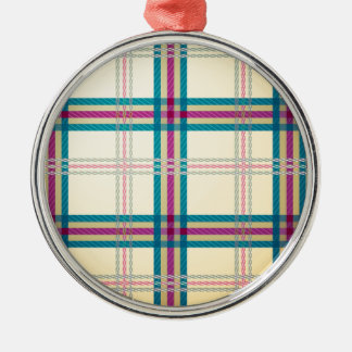 タータンチェック格子縞パターン背景 メタルオーナメント