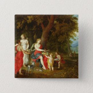 ダイアナそして彼女の娘、狩りの後で、1626年 5.1CM 正方形バッジ