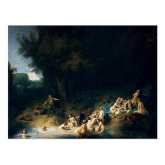 ダイアナの浸ることを絵を描くレンブラントの芸術 ポストカード
