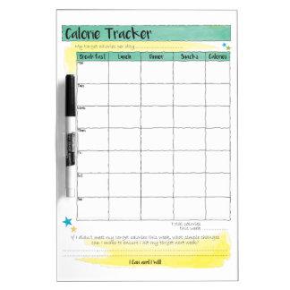 ダイエットの健康な食べ物の食事のカロリーの追跡者の図表 ホワイトボード
