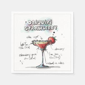 ダイキリのいちごの飲み物のレシピのカクテルのナプキン スタンダードカクテルナプキン