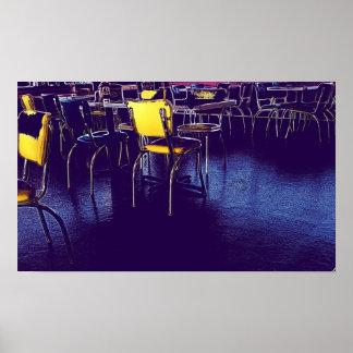 ダイナーの紫色の黄色いデジタル現実主義の写真 ポスター