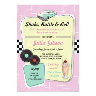 ダイナーの誕生会の50年代の五十年代のレトロの招待 カード