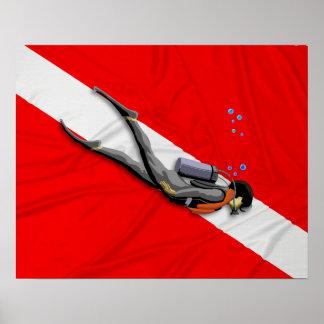 ダイバーおよびしわを寄せられた飛び込みの旗 ポスター