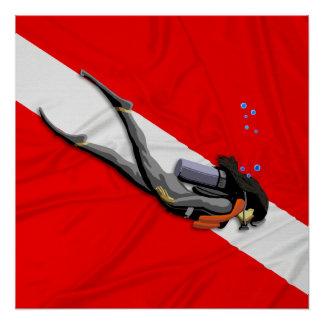 ダイバーおよび飛び込みの旗 ポスター