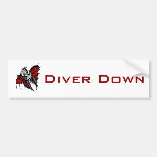 ダイバーの旗の魚 バンパーステッカー