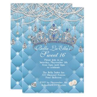 ダイヤモンドおよび真珠のバースデーパーティ招待状 カード