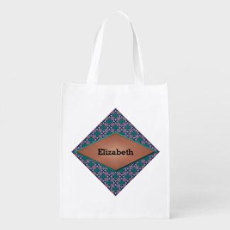 ダイヤモンドおよび花のフラクタルデザイン エコバッグ