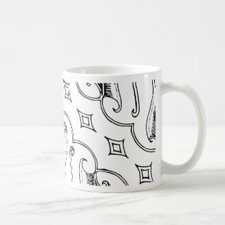 ダイヤモンドが付いているインドネシアの葉の織物パターン コーヒーマグカップ