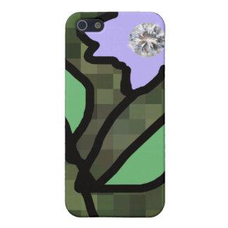 ダイヤモンドが付いている薄紫の花 iPhone 5 CASE