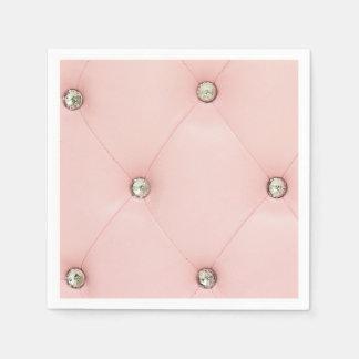 ダイヤモンドのきらきら光るなピンクの房状の革宝石のナプキン スタンダードカクテルナプキン