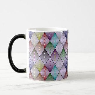 ダイヤモンドのキルトパターン変形させるコーヒー・マグ マジックマグカップ