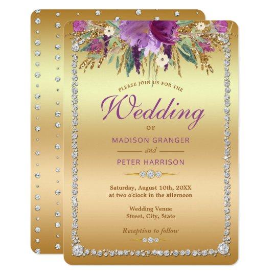 ダイヤモンドのグリッターの水彩画によっては結婚式が開花します 12.7 X 17.8 インビテーションカード