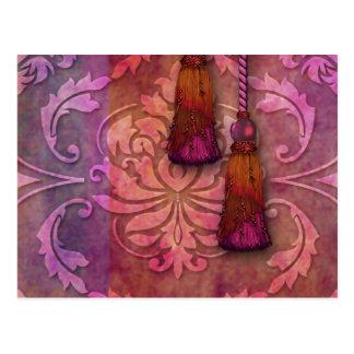 ダイヤモンドのダマスク織、赤紫およびオレンジのモロッコ ポストカード