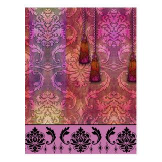 ダイヤモンドのダマスク織、赤紫及びオレンジのモロッコ ポストカード