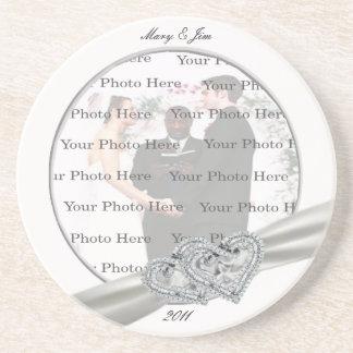 ダイヤモンドのハートの白い結婚式のコースター ドリンク用コースター