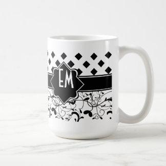 ダイヤモンドのビクトリアンな華麗さの白黒 コーヒーマグカップ