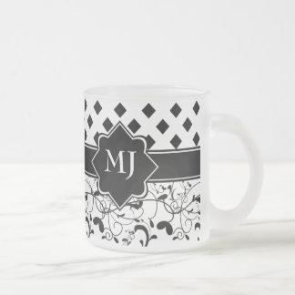ダイヤモンドのビクトリアンな華麗さの白黒 フロストグラスマグカップ