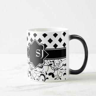 ダイヤモンドのビクトリアンな華麗さの白黒 マジックマグカップ