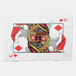 ダイヤモンドのメリークリスマス王-あなたのイメージを加えて下さい キッチンタオル
