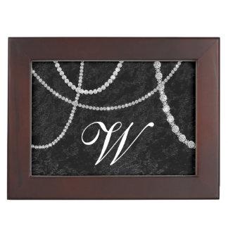 ダイヤモンドのラインストーンの黒のビロードの記念品箱 ジュエリーボックス