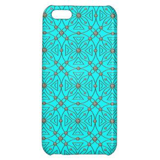 ダイヤモンドのラインストーンパターン青 iPhone5C カバー