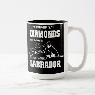 ダイヤモンドのラブラドールの黒15のozのツートーンマグ ツートーンマグカップ