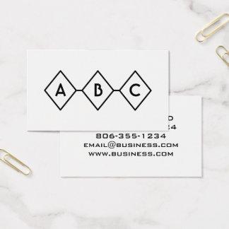 ダイヤモンドのレトロのモダンな白黒モノグラム 名刺