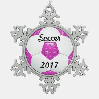 ダイヤモンドの宝石用原石のショッキングピンクのサッカーボール スノーフレークピューターオーナメント