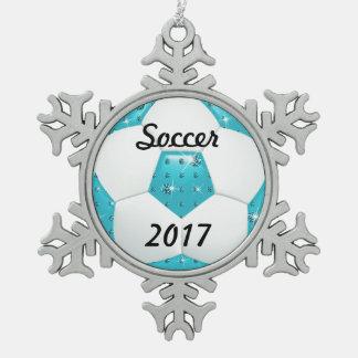 ダイヤモンドの宝石用原石の水のサッカーボール スノーフレークピューターオーナメント