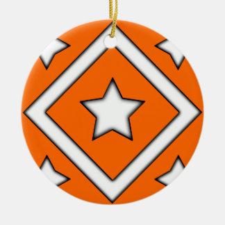 ダイヤモンドの星のオーナメントのオレンジ セラミックオーナメント