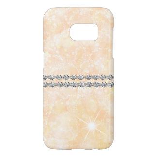 ダイヤモンドの星の破烈のパステル調のモモの白い《写真》ぼけ味 SAMSUNG GALAXY S7 ケース