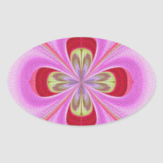 ダイヤモンドの水晶: RedRose PinkRoseの花びら 楕円形シール