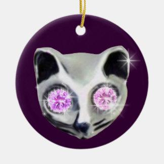 ダイヤモンドの目を持つ猫 セラミックオーナメント