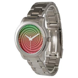 ダイヤモンドの螺線形渦の錯覚、緑/赤、 腕時計