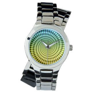 ダイヤモンドの螺線形渦の錯覚、青/黄色、 腕時計