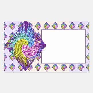 ダイヤモンドの輝きパターン 長方形シール