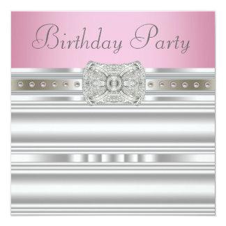 ダイヤモンドの銀製のピンクの女性の誕生会 13.3 スクエアインビテーションカード