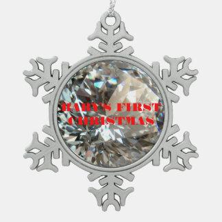 ダイヤモンドの雪片のオーナメント スノーフレークピューターオーナメント
