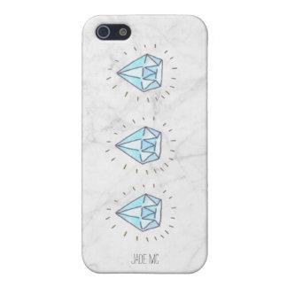 ダイヤモンドの電話箱が付いている大理石の背景 iPhone 5 カバー